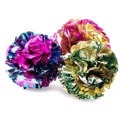 PACK OF 3 BRIGHT CRINKLE FOIL CAT OR KITTEN RUSTLING  PLAY BALLS TOY